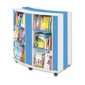 mobile-curved-book-case-trolley-blue