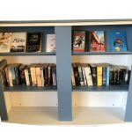 Mobile Melamine Double Sided Book Case with Curve top and bottom display shelf