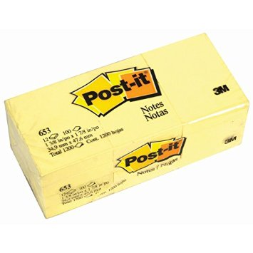 Post It Note 653 - 34.9mm x 47.6mm pack of 12
