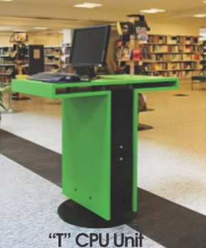 library furniture - green T CPU unit