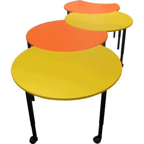 classroom library furniture - yellow and orange pacman desks
