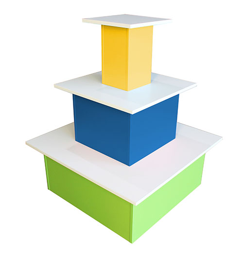 4 sided library book display blue yellow green