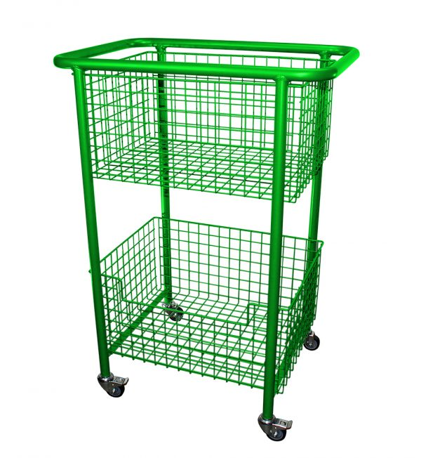 Library Trolley Wire Basket Model B with Wheels Green