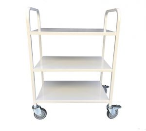 Library Trolley All Metal 3 Flat Shelves