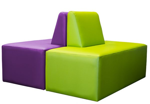 Library ottoman in plum and lime